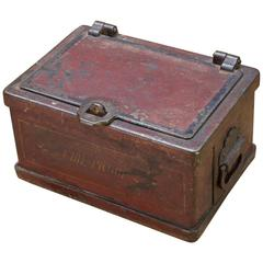 Victorian Cast Iron Patented Fireproof Strongbox Treasure Jewelry Chest Safe Box