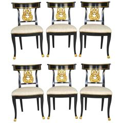 Set of Six Regency Style Ebonized and Gilt Side Chairs
