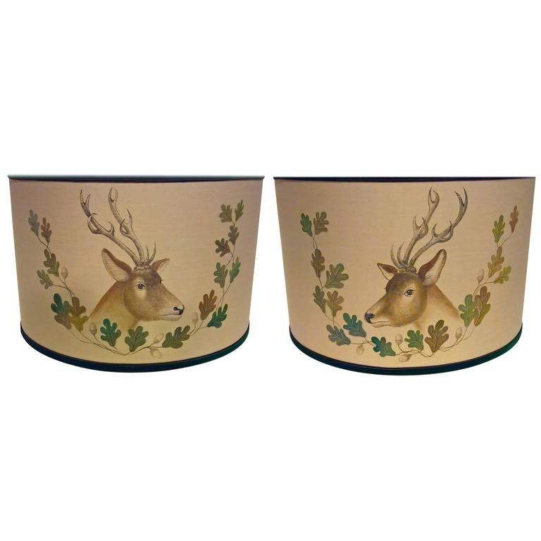 Black Forest Pair Of Hand Painted Lamp Shades With Hunting