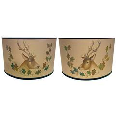 Black Forest Pair of Hand-Painted Lamp Shades with Hunting Scene