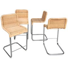1970s Modern Style Wicker Barstools