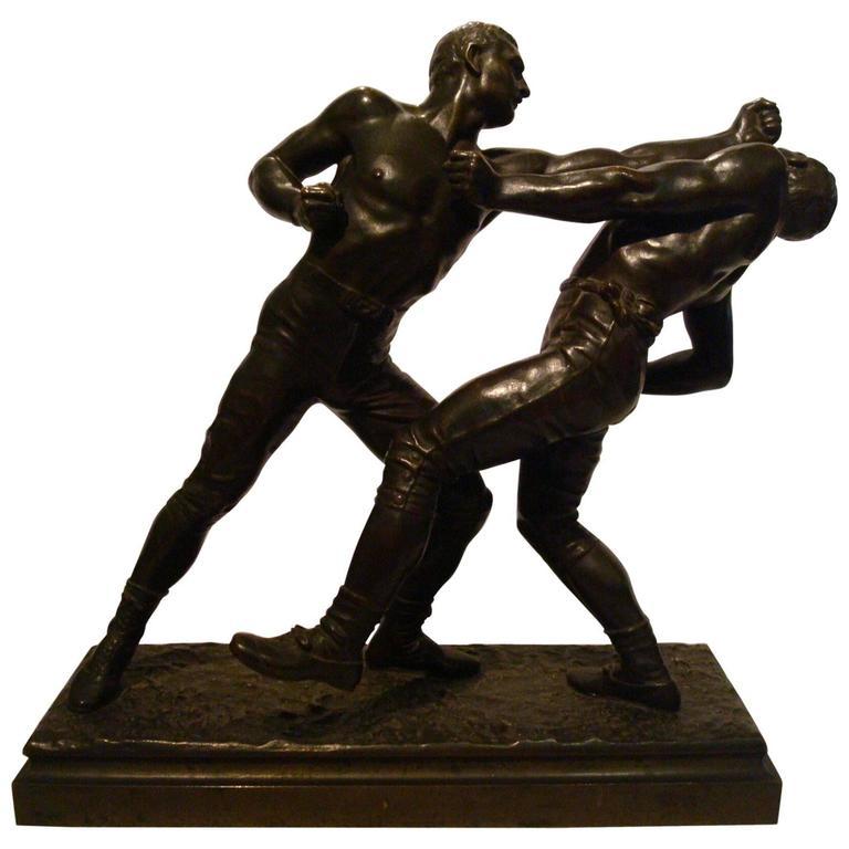 19th Century French Bronze Sport Pugilist Box Sculpture by E. Hebert