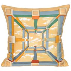 Vintage Hermes Gold Yellow Silk Scarf and Irish Linen Cushion Pillow