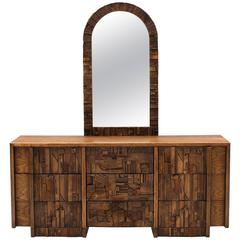 Oak Brutalist Style Dresser and Mirror
