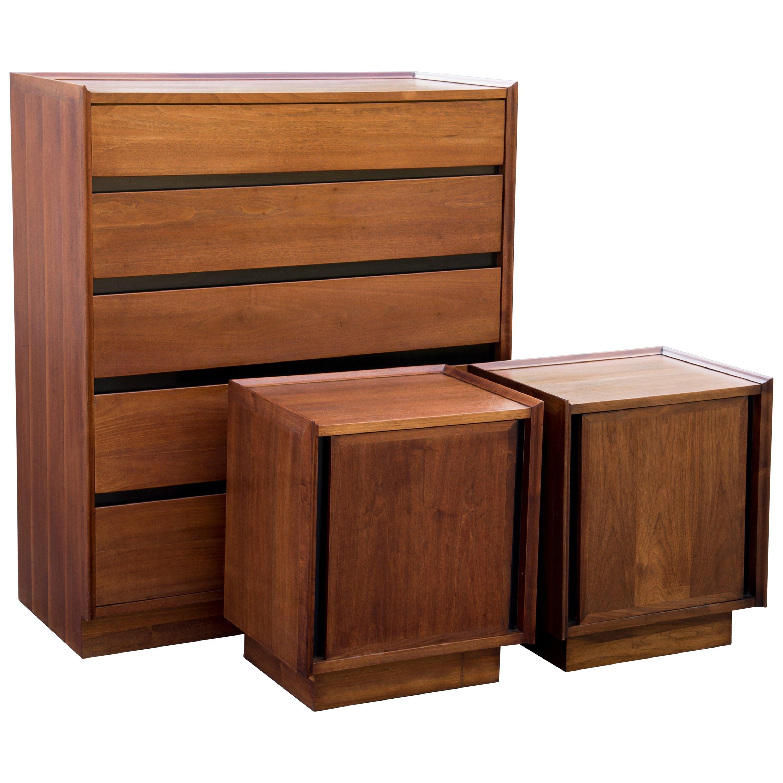 Handsome Dillingham Esprit Walnut Highboy Dresser and Matching Nightstands