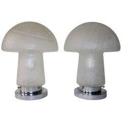 Pair of Italian Murano Glass Lamps in Mushroom Form