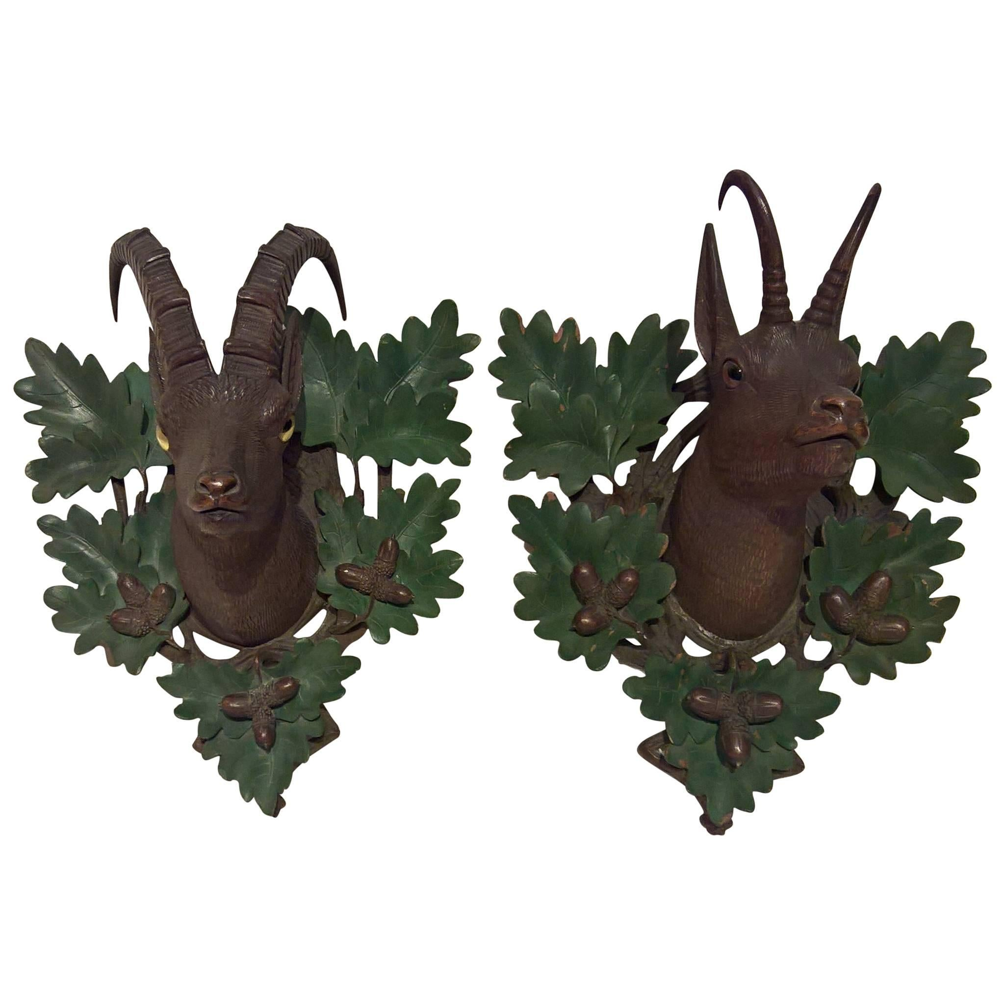 19th Century Black Forest German Pair of  Wooden Plaques