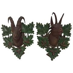 19th Century Pair Black Forest Chamois and Capricorn Sculpture on Wooden Plaques