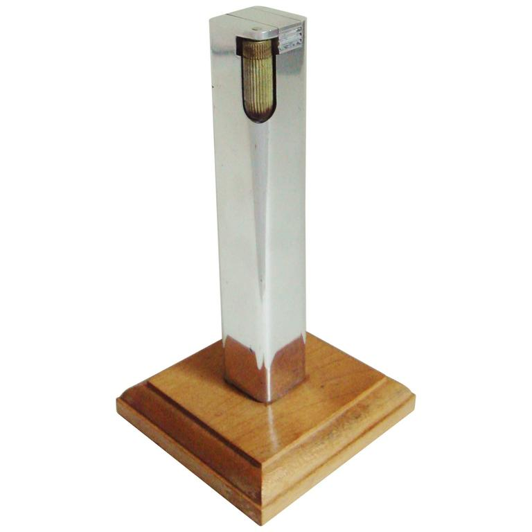 Tall American Art Deco Skyscraper Chrome Table Lighter on Blond Wood Base For Sale