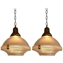 Pair of Industrial Holophane Glass Factory Pendant Lights