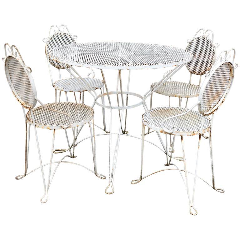 Mid century wrought iron outdoor patio dining set for sale for Wrought iron dining set outdoor