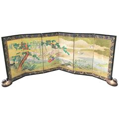 Japanese Antique Gold Birds, Cherry Tree, Mountains Hand-Painted Screen