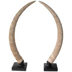 Carved Tusk Shaped Sculptures in Plaster by Austin, 1986