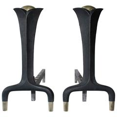 Pair of Andirons, style of Donald Deskey for Bennet in Wrought Iron, circa 1945