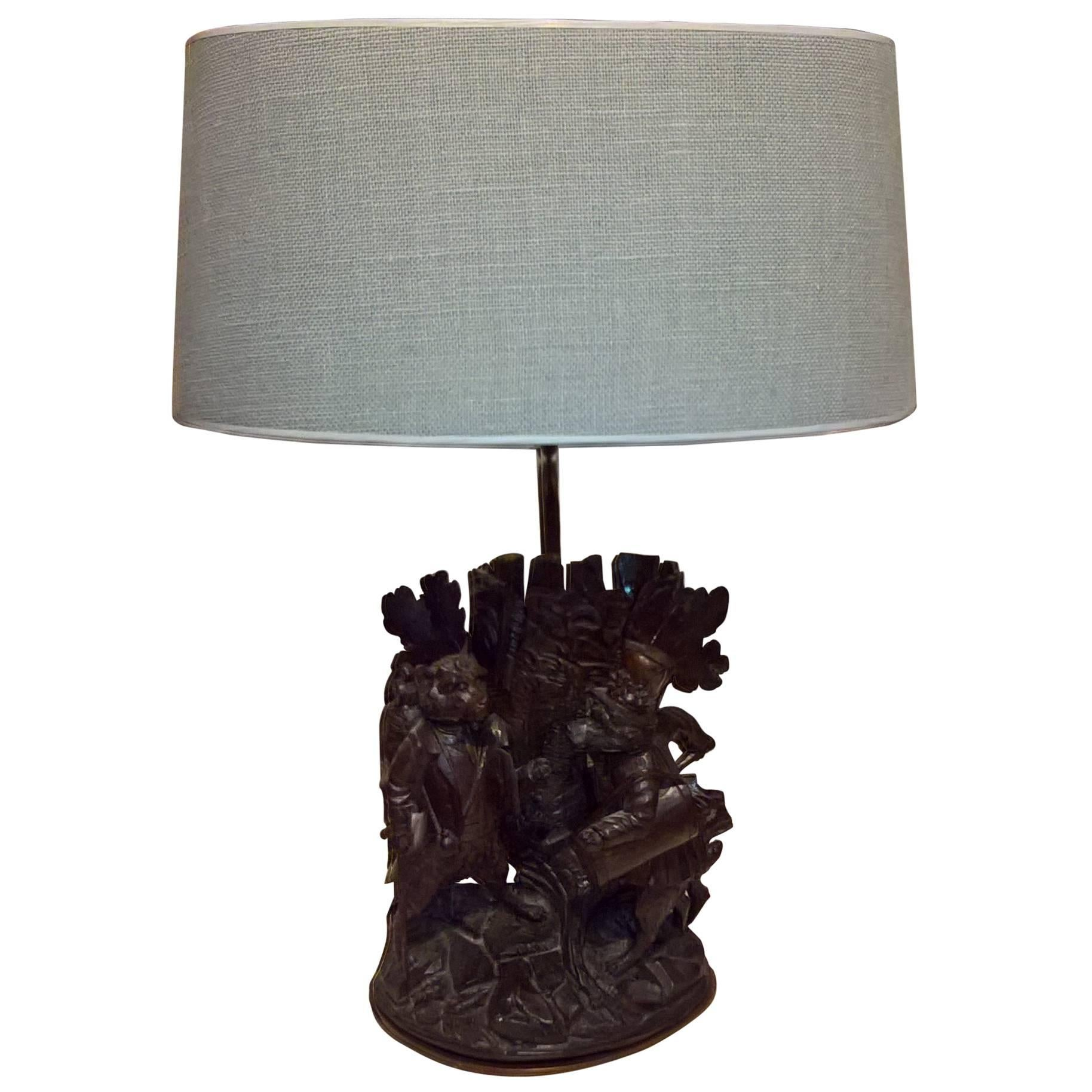 Black Forest  Swiss Table Lamp Wood Hand-Carved Sculpture
