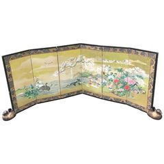 Japanese Antique Gold Mandarin Ducks, Cherry Tree, Mountains Hand-Painted Screen