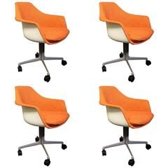 Set of Four Burke Tulip Armchairs in the Style of Eero Saarinen