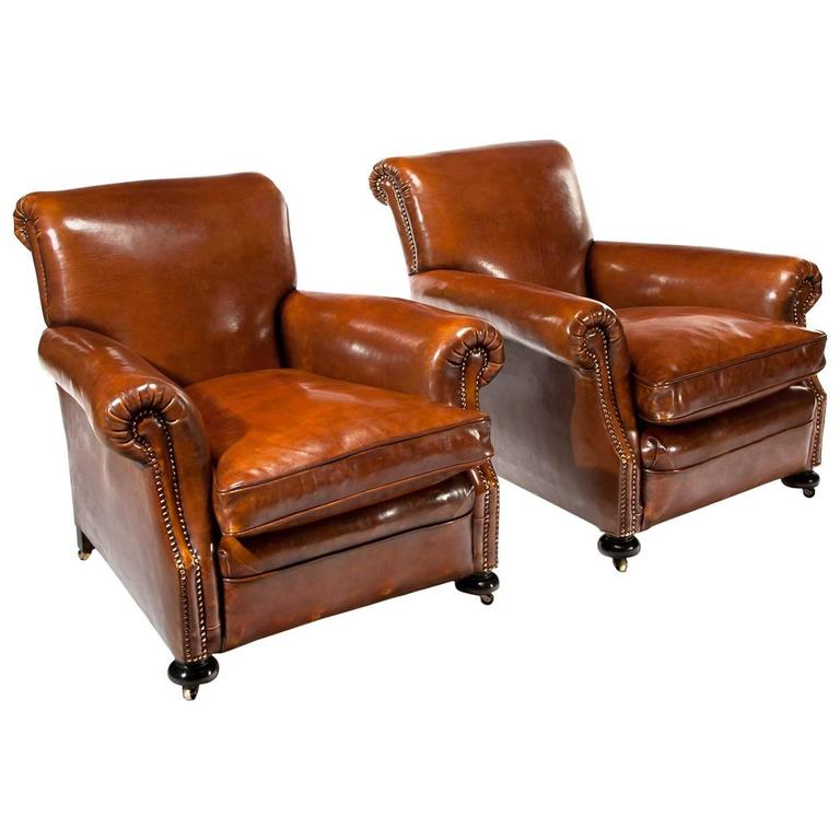 Fine Pair of Antique Leather Club Armchairs For Sale - Fine Pair Of Antique Leather Club Armchairs At 1stdibs