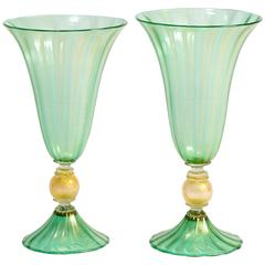 Pair of Vintage Murano Handblown Green Urns by D'este
