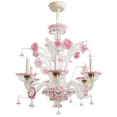 1950s Venetian Pink Six-Arm Chandelier