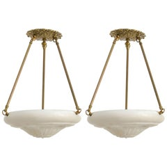 Pair of Carved Alabaster and Brass Chandeliers
