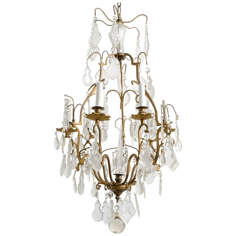Crystal and Bronze French Chandelier For Sale