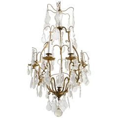 Crystal and Bronze French Chandelier