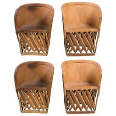 Four Leather Safari Chairs