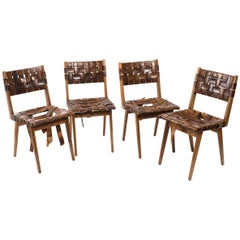 Four Mel Smilow Leather Strap and Walnut Chairs