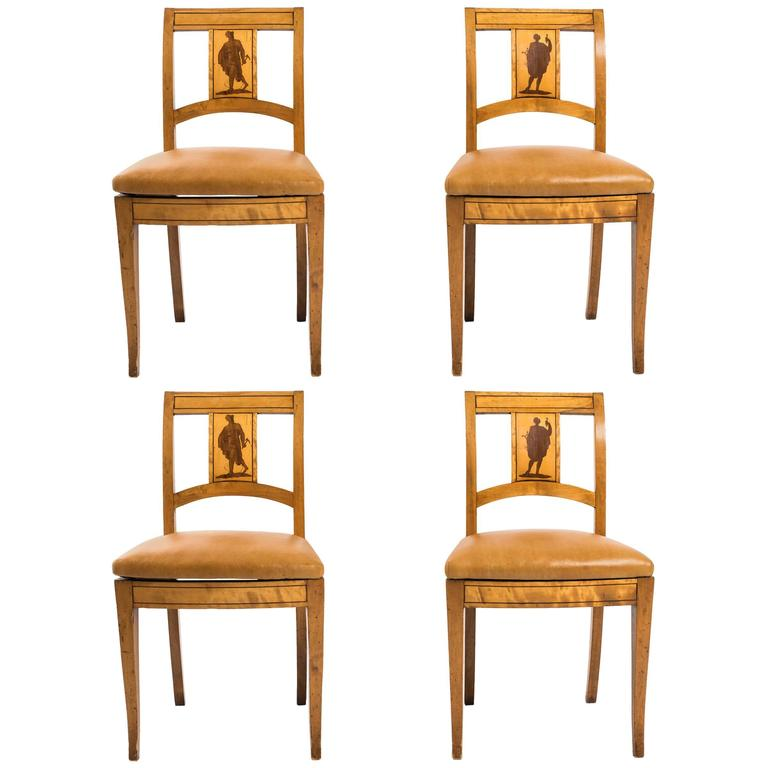 Four Biedermeier Side Chairs With Male Figures For Sale At