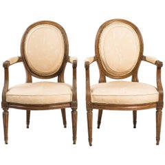 Pair of French 19th Century Louis XVI Armchairs
