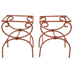 Pair of Iron Rope Side Tables/Ottomans