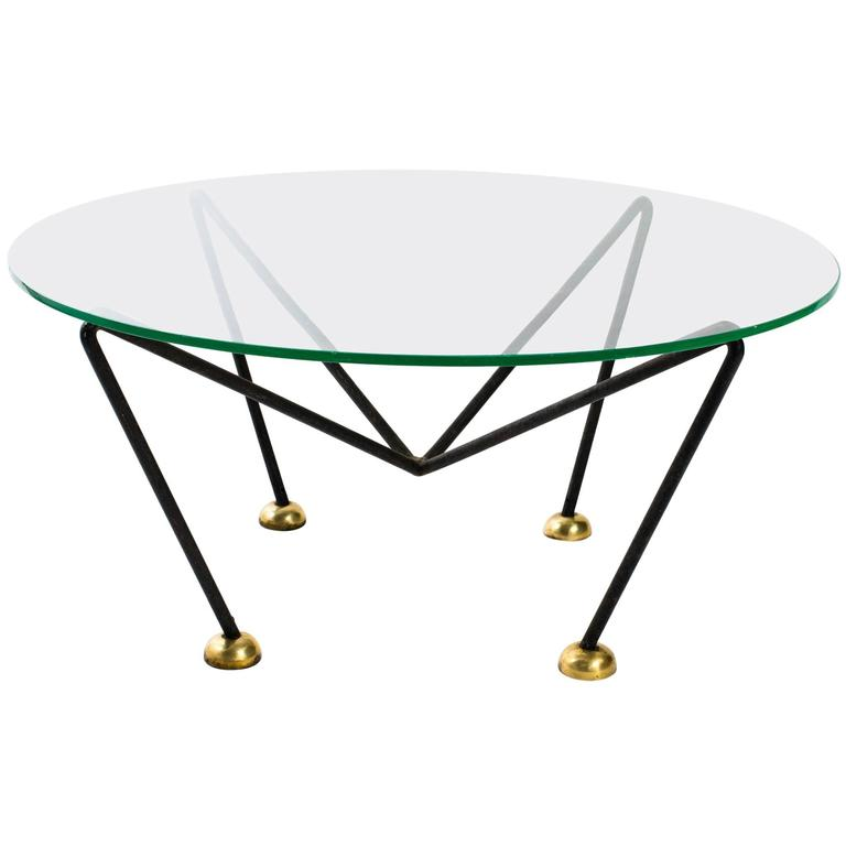 Jean Royère Style French 1940s Iron and Brass Round Coffee Table