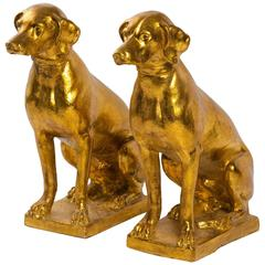 Pair of 1960s Italian Terracotta Gilt Labradors