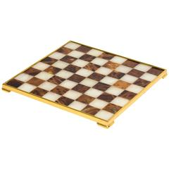 1960s Italian and Brass Marble Chess Board