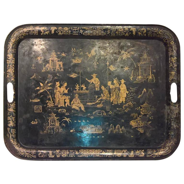19th Century Large Chinoiserie Iron Tray with Black and Gold Detailing 1