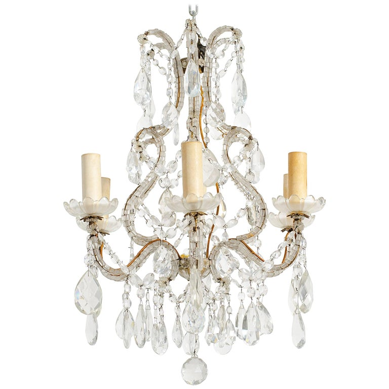 1950s Beaded French Six-Arm Chandelier For Sale
