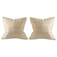 Vintage Abstract Vine Pattern Gold Metallic Pillow in the Style of Fortuny