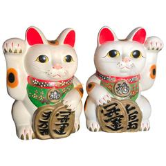 Japanese Two Big Hand Glazed Fortune Money Cats