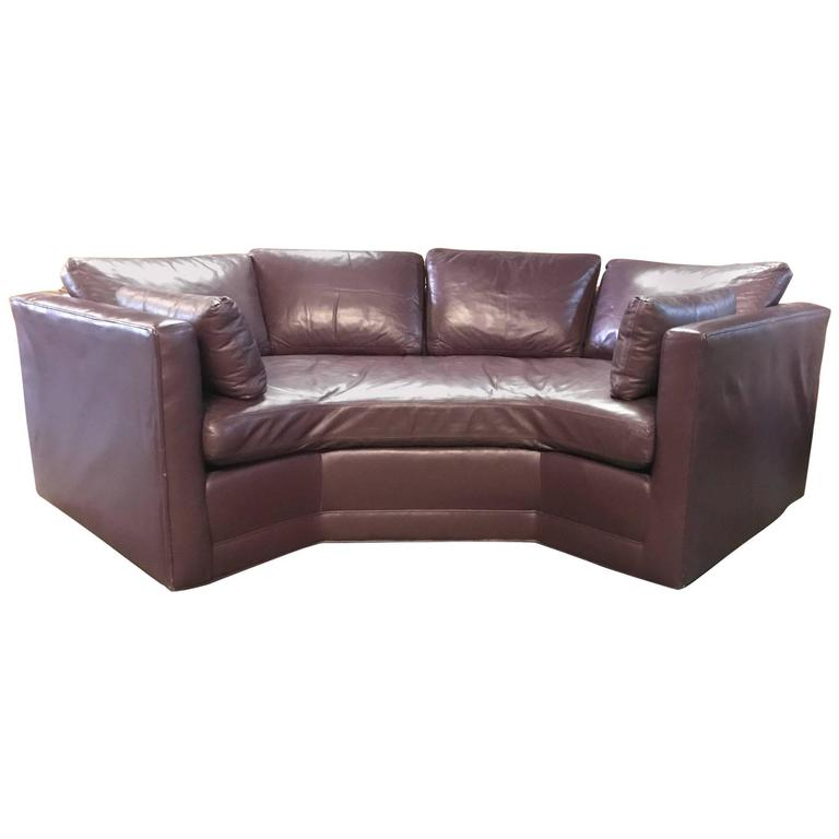Geometrical Shaped Vintage Leather Sofa For Sale At 1stdibs