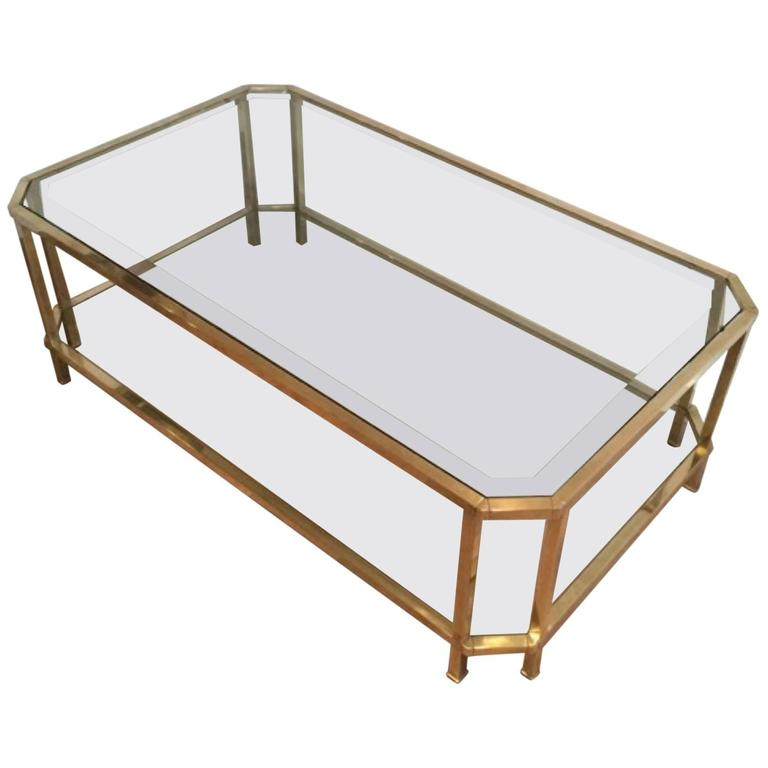 Two Tiered Brass And Glass Coffee Table: Large Octagonal Brass Two Tiered Coffee Table At 1stdibs