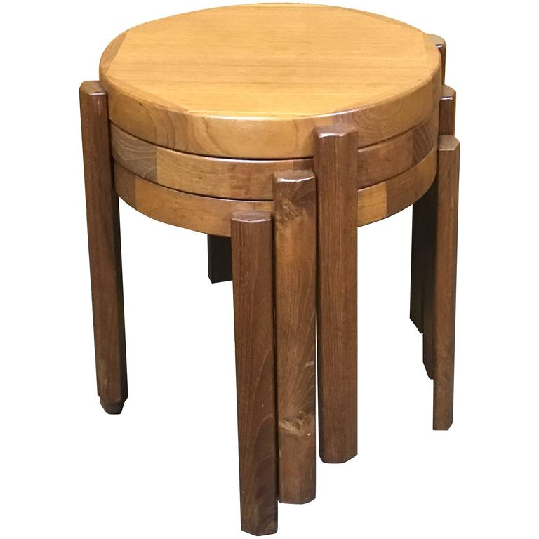 Stackable Nesting Tables ~ Great set of chunky danish modern stacking circular tables