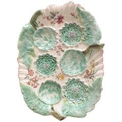 19th Century Rare Majolica Artichoke Platter Longchamp