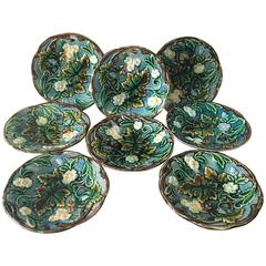 19th Century Set of Eight Majolica Plates Rörstrand