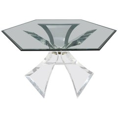 Hexagon Lucite Dining Table by Lion in Frost