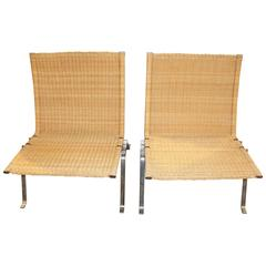 Pair of 1985 Poul Kjaerholm by Fritz Hansen PK 22 Chairs in Wicker
