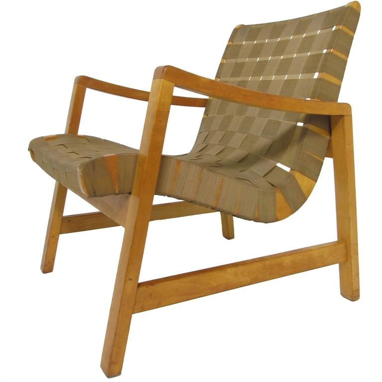 Jens Risom Lounge Chair with Original Webbing for Knoll, circa 1950s 1