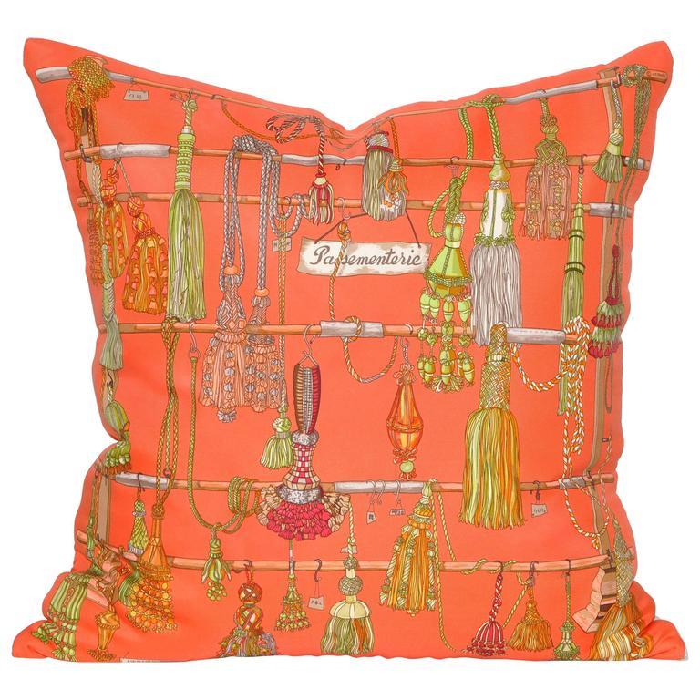 Vintage Hermes Orange Silk Scarf and Irish Linen Cushion Pillow