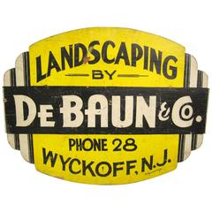 1940s Wood Landscaping Advertising Sign Wyckoff New Jersey
