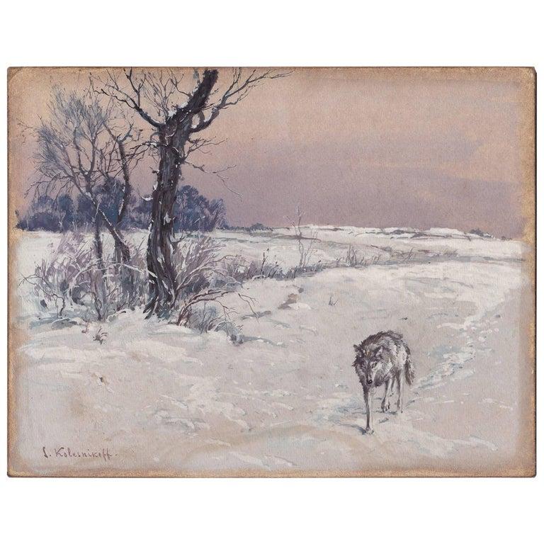 Stepan Fedorovich Kolesnikov, Lone Wolf in a Winter Landscape For Sale
